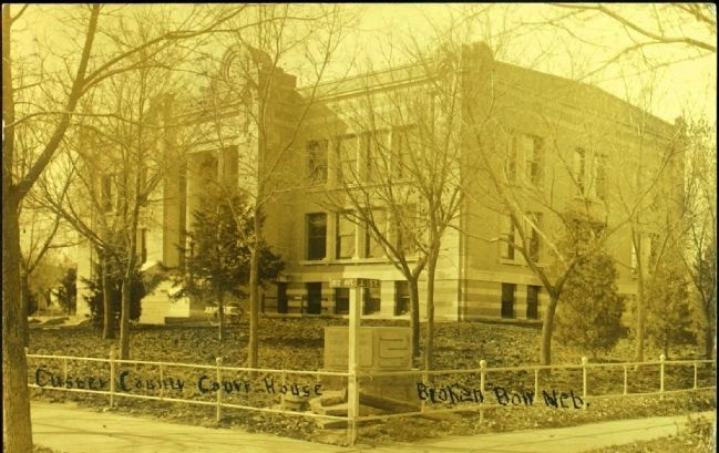 Site of First Custer County Courthouse Marker - Historic Postcard View image. Click for full size.