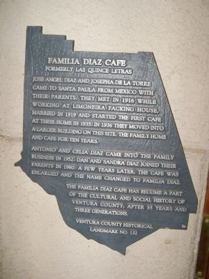 Familia Diaz Cafe Marker image. Click for full size.