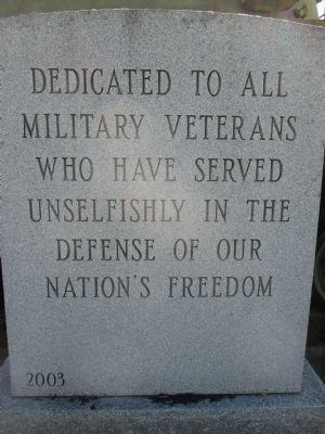 Dedicated to All Military Veterans Memorial image. Click for full size.
