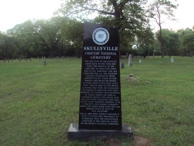 Skullyville Monument (front) image. Click for full size.