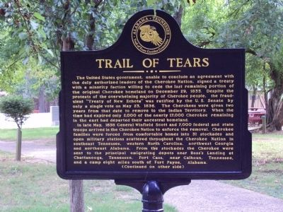 Trail of Tears Marker (Front Panel) image. Click for full size.