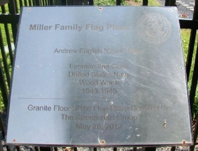 Miller Family Flag Plaza Marker image. Click for full size.