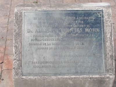 Assassination of Dr. Alberto Fuentes Mohr Marker image. Click for full size.