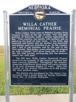 Willa Cather Memorial Prairie Marker image. Click for full size.