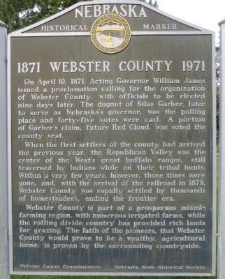 1871 Webster County 1971 Marker image. Click for full size.