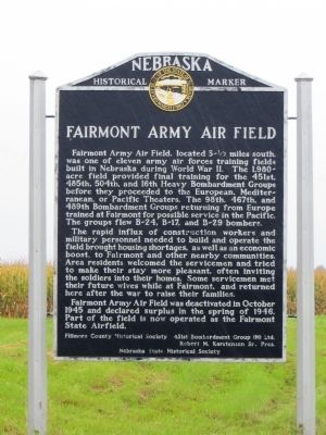 Fairmont Army Air Field Marker image. Click for full size.