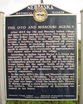 The Oto and Missouri Agency Marker image. Click for full size.