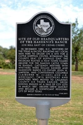 Site of Old Headquarters of the Hashknife Ranch Marker image. Click for full size.