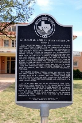 William G. and Shirley Swenson Home Marker image. Click for full size.