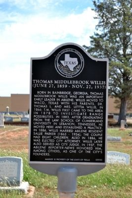 Thomas Middlebrook Willis Marker image. Click for full size.