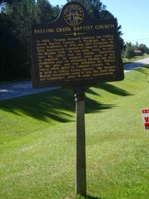 Falling Creek Baptist Church Marker image. Click for full size.