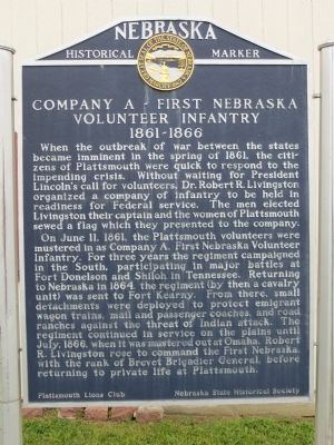 Company A – First Nebraska Volunteer Infantry Marker image. Click for full size.