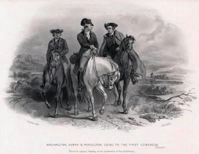 """Washington, Henry & Pendleton going to the First Congress,"" <br>Lithograph by Henry Bryan Hall image. Click for full size."