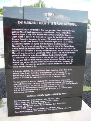 Marshall County Veterans Memorial History image. Click for full size.