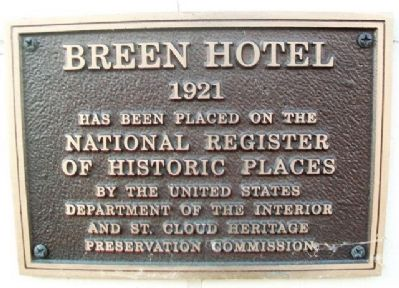 Breen Hotel NRHP Marker image. Click for full size.