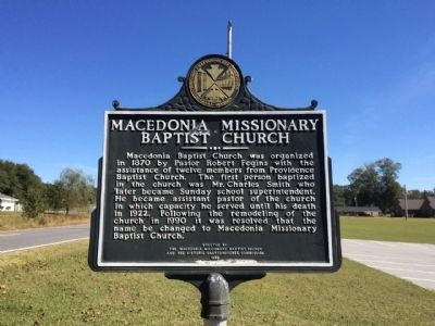 Macedonia Missionary Baptist Marker image. Click for full size.