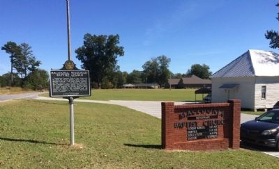 Wide view of marker at church. image. Click for full size.