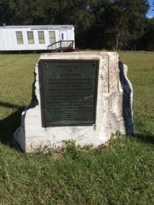Pioneer Trail of Methodism Marker mounted on marble rock. image. Click for full size.