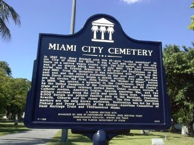 Miami City Cemetery Marker image. Click for full size.