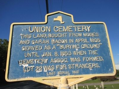 Union Cemetery Marker image. Click for full size.