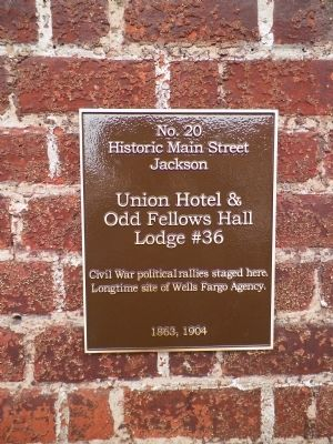 Union Hotel & Odd Fellows Hall Lodge #36 Marker image. Click for full size.