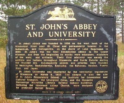 St. John's Abbey and University Marker image. Click for full size.