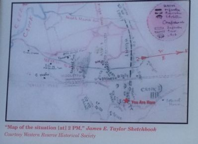 """Map of the situation [at] 2 PM,"" James E. Taylor Sketchbook image. Click for full size."