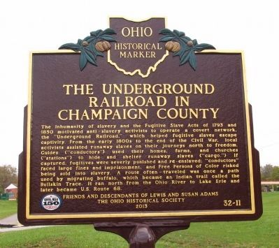 The Underground Railroad in Champaign County / Lewis Adams Marker image. Click for full size.