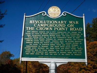 Revolutionary War Campground on the Crown Point Road Marker image. Click for full size.