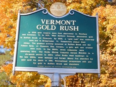 Vermont Gold Rush Marker image. Click for full size.