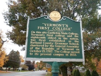 """Vermont's First College"" Marker image. Click for full size."