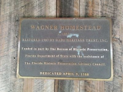 Wagner Homestead Marker at door of house image. Click for full size.