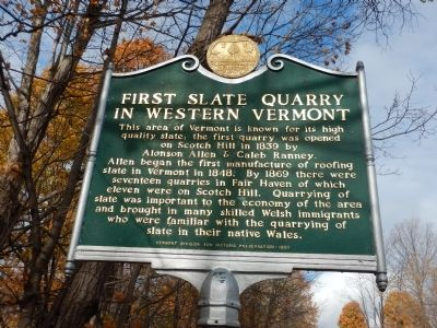 First Slate Quarry in Western Vermont Marker image. Click for full size.