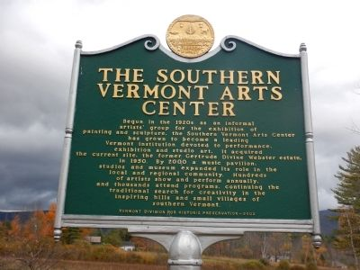 The Southern Vermont Arts Center Marker image. Click for full size.