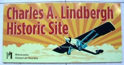 Lindbergh Historic Site Sign on Visitor Center image. Click for full size.