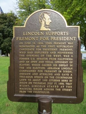 Lincoln Supports Fremont for President Marker image. Click for full size.