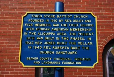 Tried Stone Baptist Church Marker image. Click for full size.