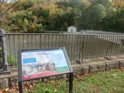 Fire Power Marker-Lake Roland in the background at the dam image. Click for full size.