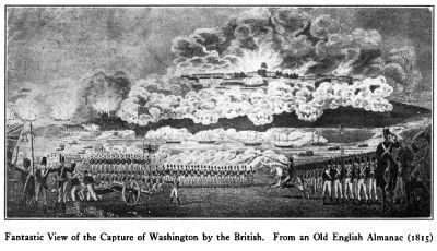 Fantastic View of the Capture of Washington by the British<br>From an Old English Almanac, 1815. image. Click for full size.