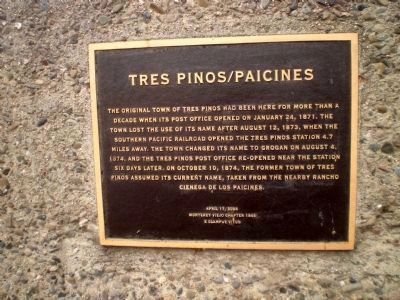 Tres Pinos/Paicines Marker image. Click for full size.