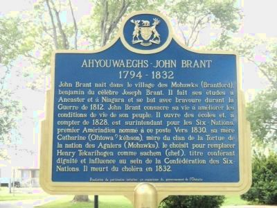 Ahyouwaeghs - John Brant Marker (French side) image. Click for full size.