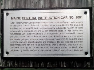 Maine Central Instruction Car No. 2001 Marker image. Click for full size.