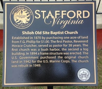 Shiloh Old Site Baptist Church Marker image. Click for full size.
