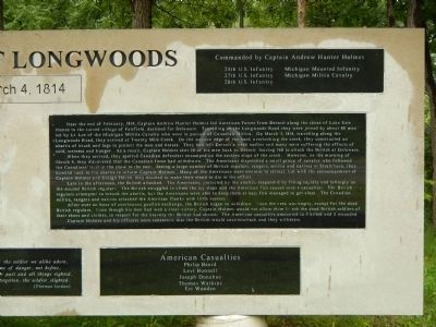 Battle of Longwoods Marker (right side) image. Click for full size.