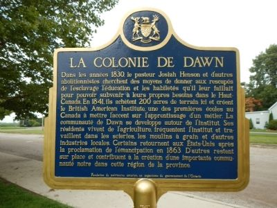 The Dawn Settlement Marker (French side) image. Click for full size.