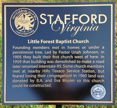 Little Forest Baptist Church Marker image. Click for full size.
