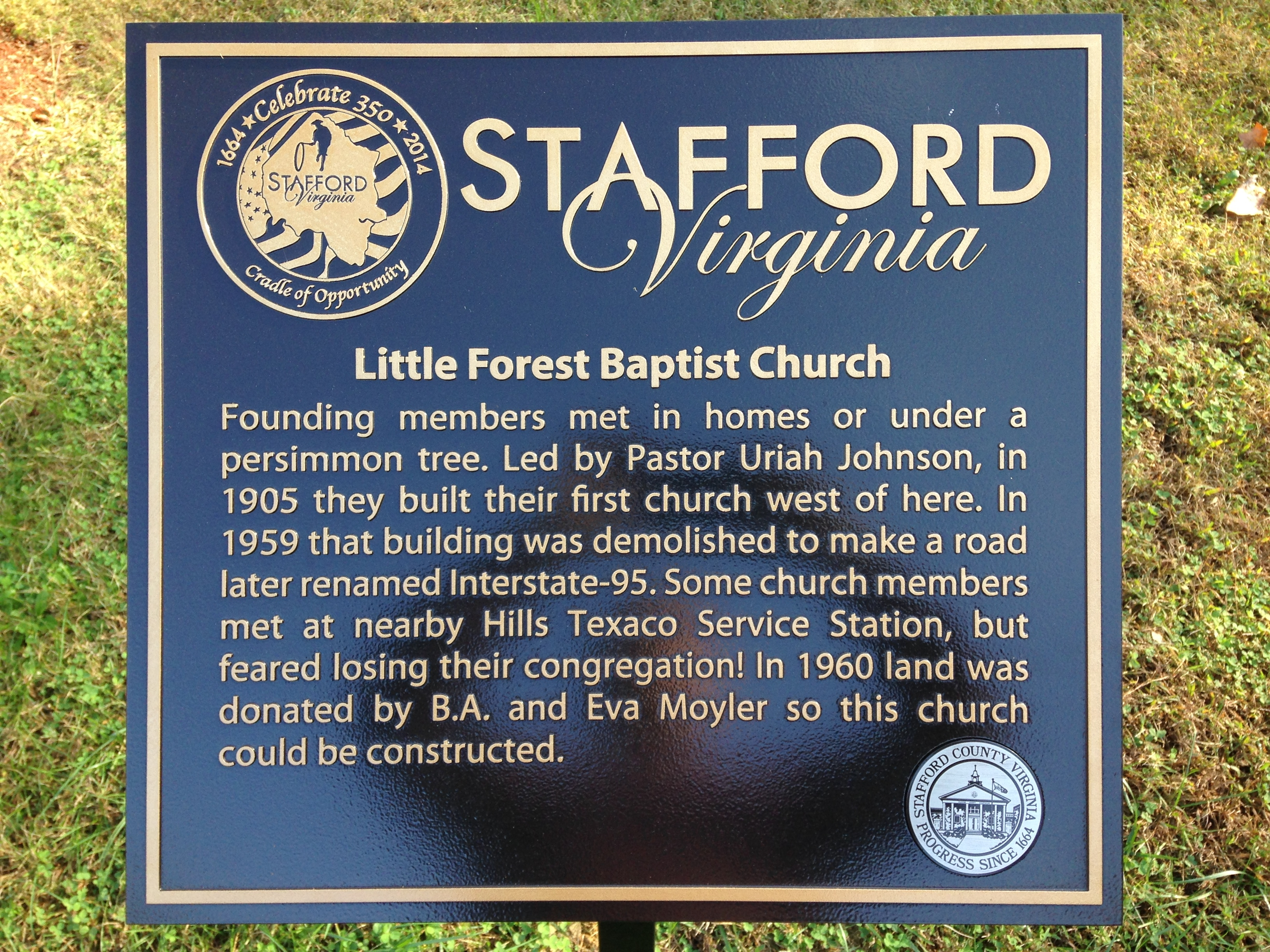 Little Forest Baptist Church Marker