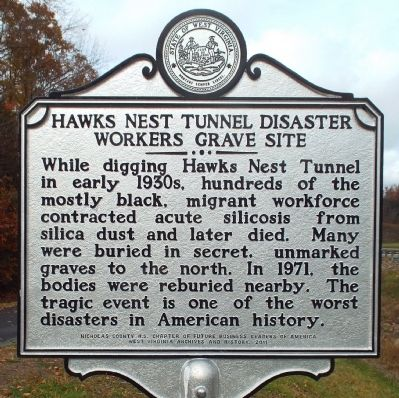Hawks Nest Tunnel Disaster Workers Grave Site Marker image. Click for full size.