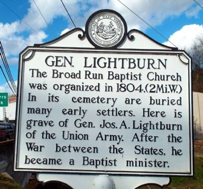 Gen. Lightburn Marker image. Click for full size.