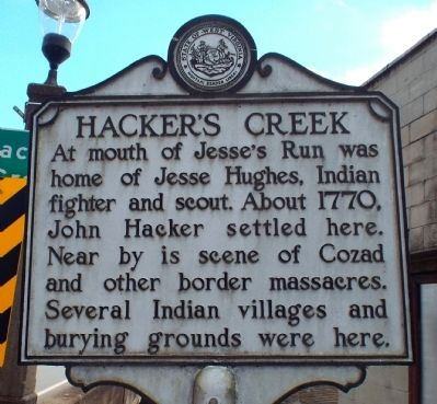 Hacker's Creek Marker Side image. Click for full size.